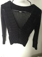FREE PEOPLE Womens Black Crochet Cardigan Sweater 3/4 Sleeve Cropped XS