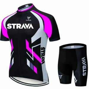 Fluorescent Green STRAVA Cycling Jersey Sets Red Bicycle Short Sleeve Cycling