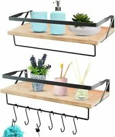 Floating Shelves Wall Mounted with 2 Tower Bars - Extra Wide Rustic Wood Shelves