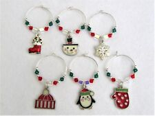 #5239 -- WINE BEVERAGE CHARMS SET OF 6, CHRISTMAS HOLIDAYS SWAROVSKI CRYSTALS