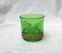 Colorado LACY MEDALLION Miniature Sugar Toothpick Tumbler Emerald Green Glass