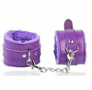 Purple Restraints Sex Bondage BDSM Up Leather Furry Handcuffs Ankle with Chain