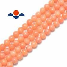 "Peach Calcite Smooth Round Beads 6mm 8mm 10mm 12mm 15.5"" Strand"