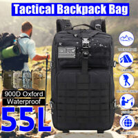 55L Outdoor Molle Military Tactical Bag Army Backpack Hiking Camping Trekking