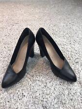 Clarks Womens Court Shoes UK 6.5 Eur 39.5 Black Leather Block Heel Pumps