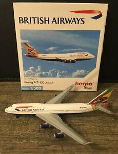 British Airways (Ireland tail) Boeing 747-400 Herpa 1:500 Diecast Model Airplane