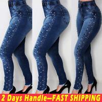 Women Beaded High Waist Denim Jeans Skinny Stretch Push Up Pencil Pants Trousers