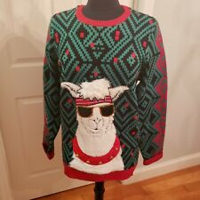 Jolly Sweaters Men's Crew Neck Ugly Christmas Sweater Llama Sunglasses Sz Medium