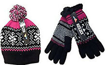 Ladies/Women Luxury Hat and Gloves Set Fairisle Bobble Knitted Fur Lined Gift