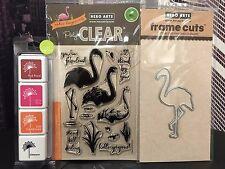 Hero Arts FLAMINGO Clear Stamps + Coordinatng Frame Cuts Dies + Mini Ink Pad Set
