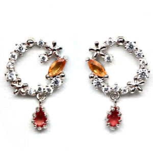 NATURAL HEATED ORANGE, YELLOW SAPPHIRE & WHITE CZ 925 STERLING SILVER EARRINGS