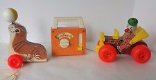 Fisher Price Wooden Seal Tote-A-Tune Musical Box Wind Up Radio Jalopy Clown Car