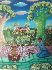 vintage CUBAN folk art-NAIVE-Naif- PAINTING-original-signed-the puppeteer