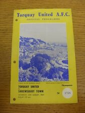 20/08/1960 Torquay United v Shrewsbury Town  (Creased, Folded, Punched Holes). F