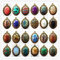 Beautiful Bronze Inlay Mixed Gemstone Pendant Bead GL076