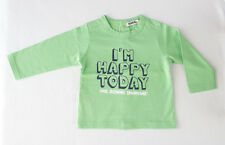 "Camiseta verde de niño de manga larga ""I'm happy today"" (Talla 6 meses)"