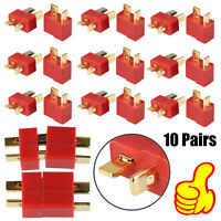 10 Pairs T Plug Connectors Male & Female for RC Hobby Car Boat Plane Helicopter