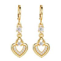 Sparkling Women Love Heart 18K Gold Plated Cubic Zircon CZ Drop Earrings Jewelry