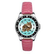 Sokoke Forest Kitten Cat Unisex Mens Ladies Leather Band Quartz Wrist Watch