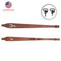 Tourbon Vintage Leather Rifle Sling Deer Embroidery Adjustable Gun Strap Belt US