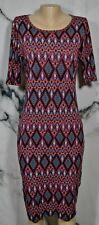 LULAROE Black Multicolor Geometric Print Julia Sheath Dress Medium Short Sleeves