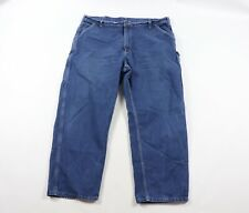 Vintage 90s Carhartt Mens 42x30 Spell Out Leather Patch Dungaree Fit Denim Jeans