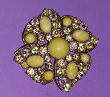 Vintage WEISS Signed yellow opals AB Rhinestone Brooch Pin