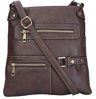 Womens Faux Leather Cross Body Messenger Tote Shoulder Bag Purse Handbags