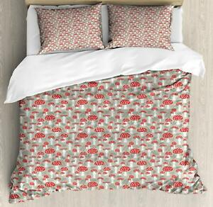 Mushroom Duvet Cover Set Twin Queen King Sizes with Pillow Shams Bedding