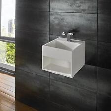 Mexa 33cm x 33cm Pure White Solid Surface Wall Mounted Square Basin Space Saving