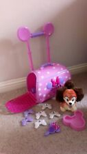 Clubhouse Disney Store Minnie Mouse Pink Pet Carrier Case Trolley & Fifi Dog