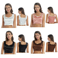 Womens Slim Fit Sleeveless Tank Top Lace Trim Satin Bowknot V Neck Sexy Crop Top