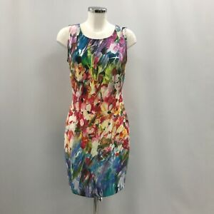 Joseph Ribkoff Pencil Dress Ladies UK 14 Multi Colour Floral Summer Chic 032754