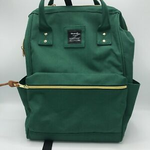 Himawari Laptop Backpack Travel With USB Charging Port Dark Green Large Bag