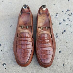 Stubbs & Wootton Genuine Brown Alligator Leather Men's Loafers sz 9.5 US