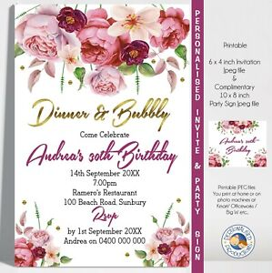 FLORAL FLOWER invitation invite 30th 40th birthday any age YOU PRINT jpeg file