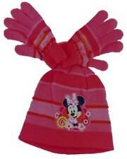 Childrens Dark Pink Winter Hat and Gloves Set 4 - 8 Disney Minnie Mouse Mickey