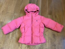 Girls Ralph Lauren Down Puffer Hooded Coat Pink Blue Pony Size 3/3T