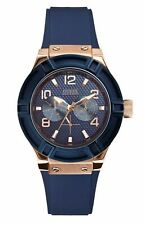 Guess Women's Multifunction Rose Gold Tone & Blue Silicone Strap Watch W0571L1