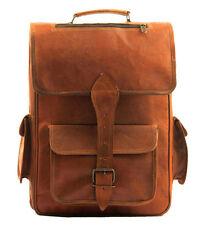 "Genuine leather Vintage Backpack laptop satchel brown vintage handmade bag 16"""