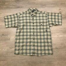 Patagonia Mens Medium Beige Blue Plaid Organic Cotton S/S Button Up Shirt