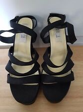 Rouge Helium black platform heels size 8. straps + wrap up ankles! Fabric upper