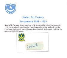 ROBERT McCARTNEY PORTSMOUTH 1950-1953 VERY RARE ORIG HAND SIGNED CUTTING/CARD