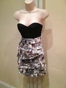 LIPSY Stunning Sexy Black Silver White Layered Strapless Party Dress Size 8
