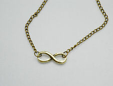 Gold / Silver / Bronze / Black Small Infinity Friendship Pendant Charm Necklace