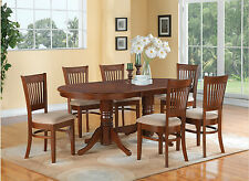 7pc Oval Dining Set Vancouver Table 6 Microfiber Upholstered Chairs Espresso