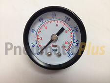 "Air Pressure Gauge Dry 1-1/2"" Dial Center Back Mount 0-160 PSI, 1/8"" NPT"