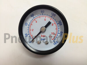 "10 x Air Pressure Gauge Dry 1-1/2"" Dial Center Back Mount 0-160 PSI, 1/8"" NPT"