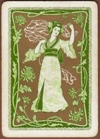 Playing Cards 1 Single Card Old Antique Wide JAPANESE KIMONO LADY GIRL Flowers 2
