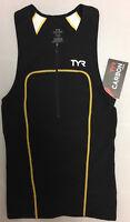 TYR Men's XS Black Gold White Triathlon Zip Front Singlet Tank Carbon USA New